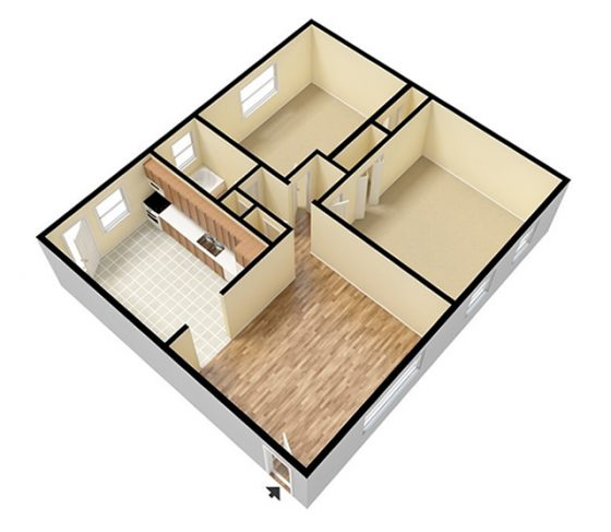 3D Unfurnished. 1 Bedroom 1 Bathroom. 800 sq. ft.