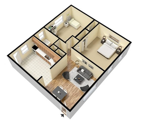 3D Furnished. 2 Bedroom 1 Bathroom. 950 sq. ft.